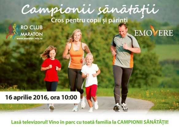Parintii si copiii alearga la crosul Campionii sanatatii